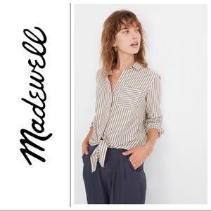 NWT Madewell Tie Front Long Sleeve Striped Top NWT